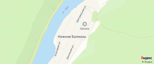 Карта деревни Нижние Балмазы в Башкортостане с улицами и номерами домов