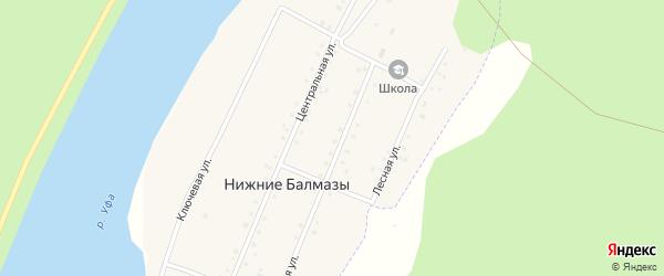 Центральная улица на карте деревни Нижние Балмазы с номерами домов