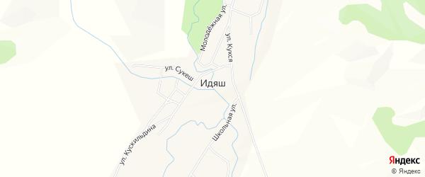 Карта деревни Идяша в Башкортостане с улицами и номерами домов