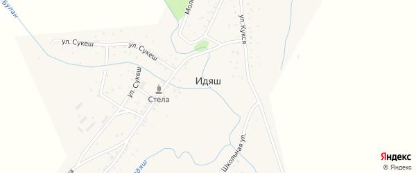 Молодежная улица на карте деревни Идяша с номерами домов