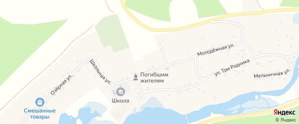 Зеленая улица на карте деревни Абдуллино с номерами домов
