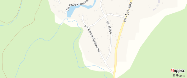 Улица Кинзи Арсланова на карте деревни Иргизлы с номерами домов