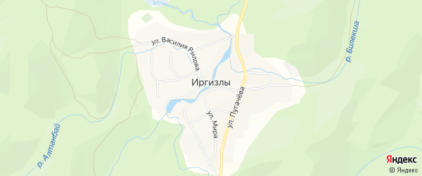 Карта деревни Иргизлы в Башкортостане с улицами и номерами домов
