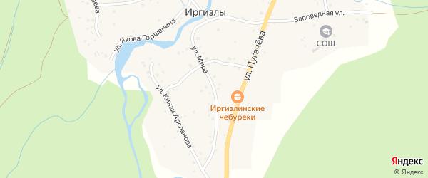 Улица Мира на карте деревни Иргизлы с номерами домов