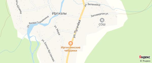 Улица Пугачева на карте деревни Иргизлы с номерами домов