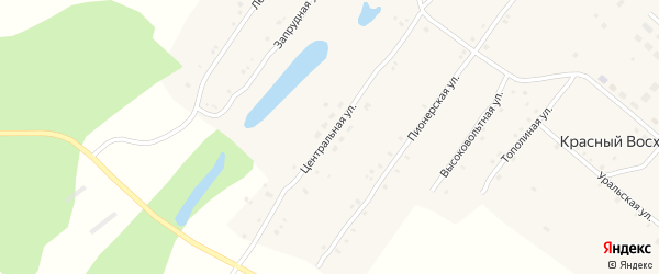 Центральная улица на карте села Красного Восхода с номерами домов