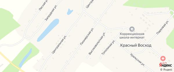 Пионерская улица на карте села Красного Восхода с номерами домов