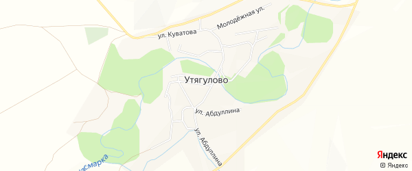 Карта деревни Утягулово в Башкортостане с улицами и номерами домов