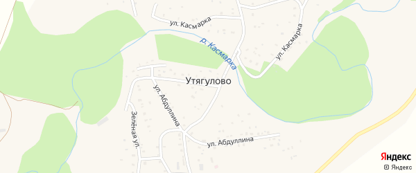 Улица Куватова на карте деревни Утягулово с номерами домов