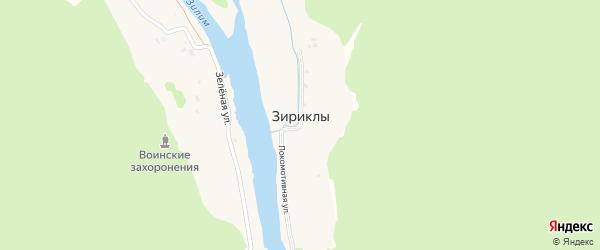 Зеленая улица на карте деревни Зириклы с номерами домов