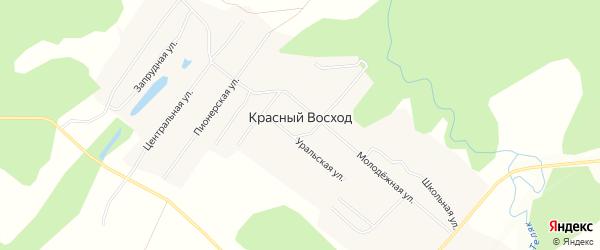 Карта села Красного Восхода в Башкортостане с улицами и номерами домов