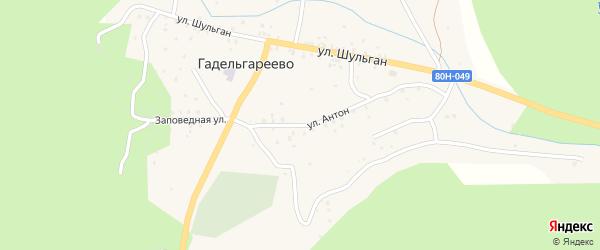 Улица Антон на карте деревни Гадельгареево с номерами домов