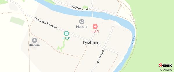 Комсомольская улица на карте деревни Гумбино с номерами домов