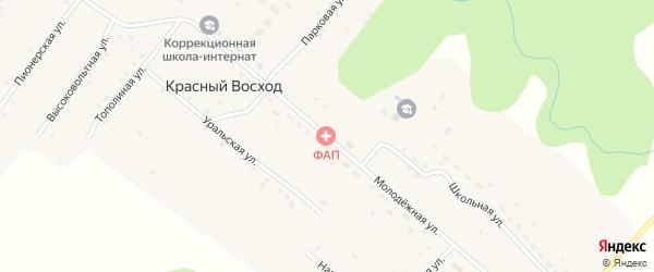 Молодежная улица на карте села Красного Восхода с номерами домов
