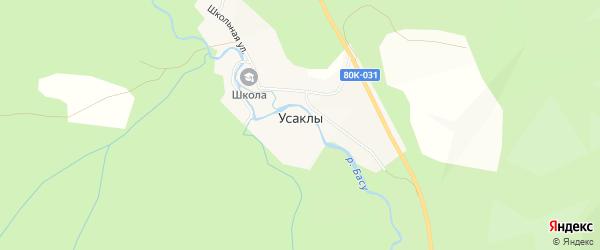 Карта деревни Усаклы в Башкортостане с улицами и номерами домов