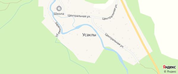 Лесной переулок на карте деревни Усаклы с номерами домов