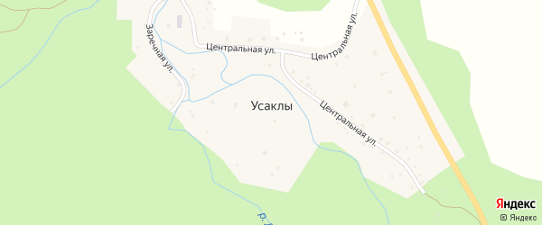 Центральная улица на карте деревни Усаклы с номерами домов