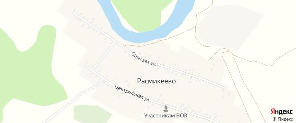 Симская улица на карте деревни Расмикеево с номерами домов