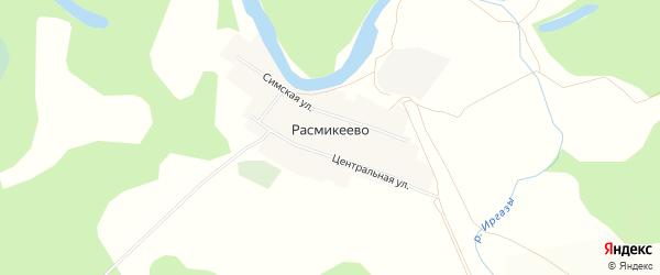 Карта деревни Расмикеево в Башкортостане с улицами и номерами домов