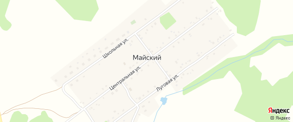 Центральная улица на карте села Майского с номерами домов