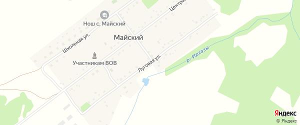 Луговая улица на карте села Майского с номерами домов