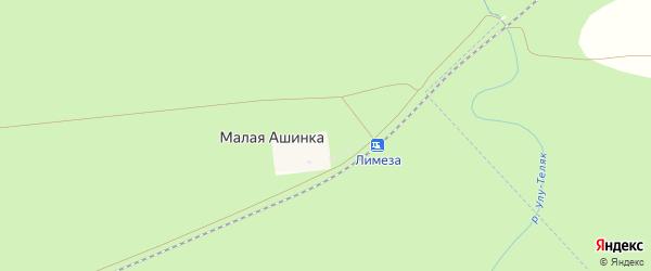 Речная улица на карте деревни Малой Ашинки с номерами домов