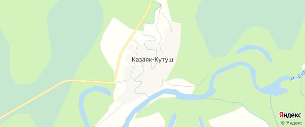Карта деревни Казаяка-Кутуша в Башкортостане с улицами и номерами домов