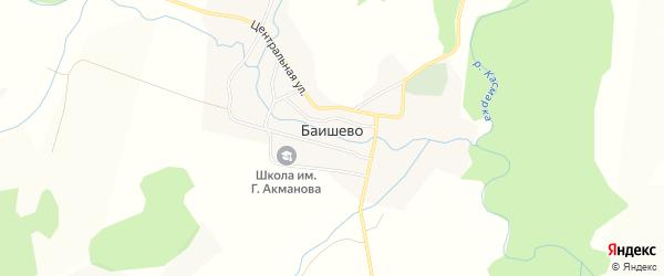 Карта деревни Баишево в Башкортостане с улицами и номерами домов
