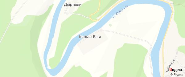Карта деревни Карыша-Елги в Башкортостане с улицами и номерами домов
