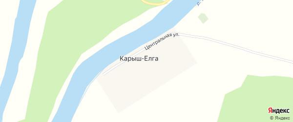 Центральная улица на карте деревни Карыша-Елги с номерами домов