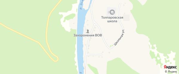 Молодежная улица на карте деревни Толпарово с номерами домов