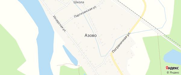 Железнодорожная улица на карте деревни Азово с номерами домов