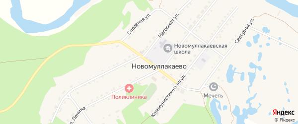 Центральная улица на карте села Новомуллакаево с номерами домов