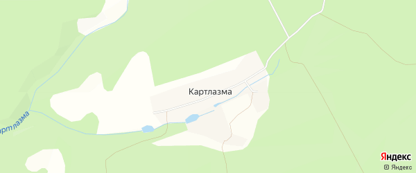 Карта хутора Картлазмы в Башкортостане с улицами и номерами домов
