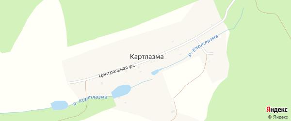 Центральная улица на карте хутора Картлазмы с номерами домов