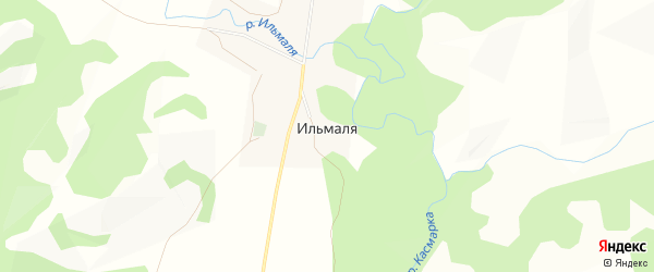 Карта деревни Ильмали в Башкортостане с улицами и номерами домов