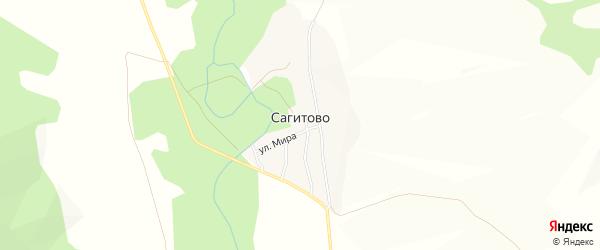 Карта деревни Сагитово в Башкортостане с улицами и номерами домов