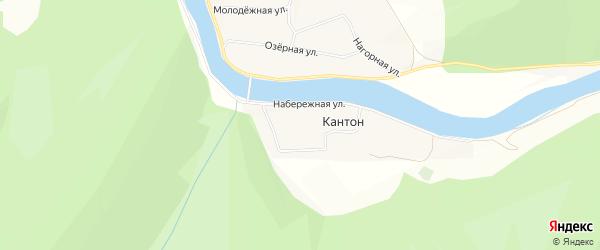 Карта деревни Кантона в Башкортостане с улицами и номерами домов