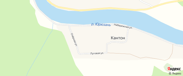 Озерная улица на карте деревни Кантона с номерами домов