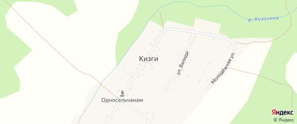 Центральная улица на карте деревни Кизги с номерами домов
