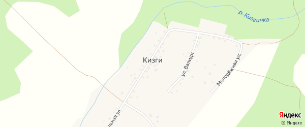 Молодежная улица на карте деревни Кизги с номерами домов