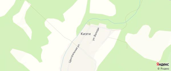 Карта деревни Кизги в Башкортостане с улицами и номерами домов