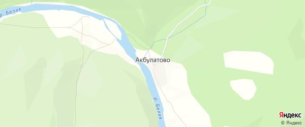 Карта деревни Акбулатово в Башкортостане с улицами и номерами домов