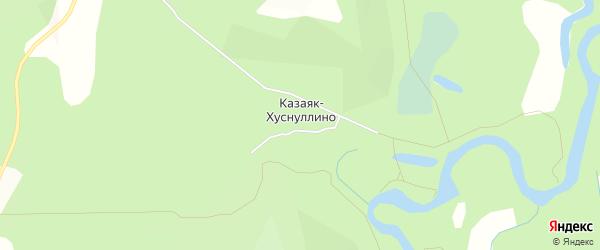 Карта деревни Казаяк-Хуснуллино в Башкортостане с улицами и номерами домов