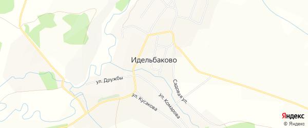 Карта деревни Идельбаково в Башкортостане с улицами и номерами домов