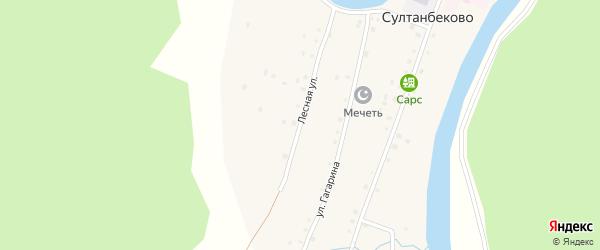 Лесная улица на карте деревни Султанбеково с номерами домов