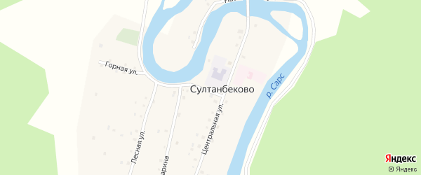 Горная улица на карте деревни Султанбеково с номерами домов