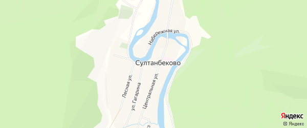 Карта деревни Султанбеково в Башкортостане с улицами и номерами домов