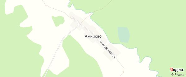 Карта деревни Амирово в Башкортостане с улицами и номерами домов