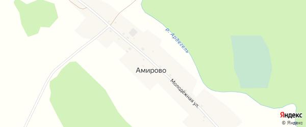 Молодежная улица на карте деревни Амирово с номерами домов